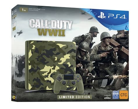 PS4 Slim 1TB COD WWII Limited Edition Console Bundle   PS4