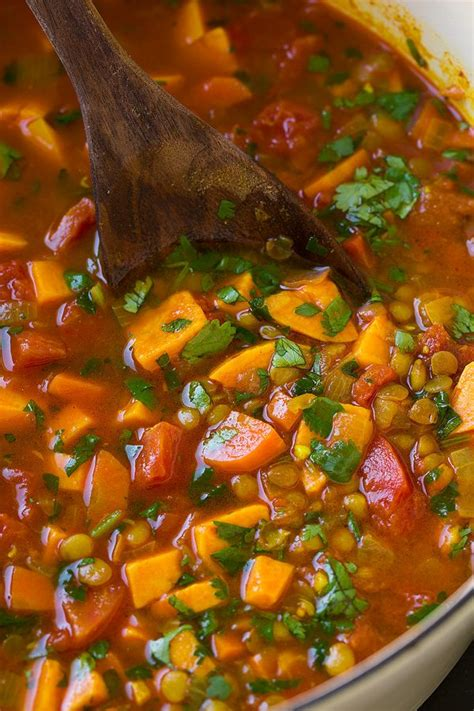 Sweet Potato Soup (Healthy Moroccan Lentil) - Cooking Classy